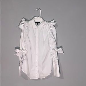 Banana Republic White Button-Up with Bow Details